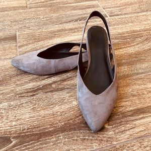 Express Gray Suede Slingback Pointed Toe Flats